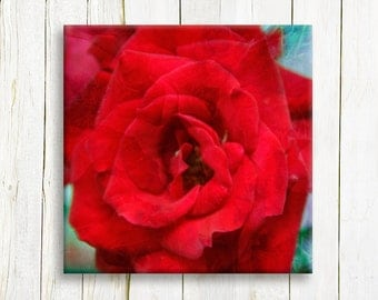 Red floral art print on canvas -  bedroom decor - housewarming gift