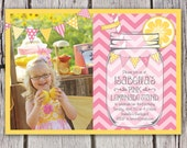 Pink Lemonade Invitation - Mason Jar Chevron Bunting Lemonade Stand - Birthday Party Invite - Lemonade Photo Invitation - Printable