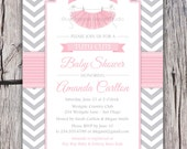 Tutu Cute Baby Shower Invitation - Chevron - Pink Grey - Girl Baby Shower - ANY colors - Tutu Party - Modern Shower - Pritable DIY or Ecard