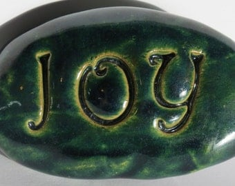 JOY Magnet - Ceramic - GREEN Art Glaze - Inspirational Art Piece