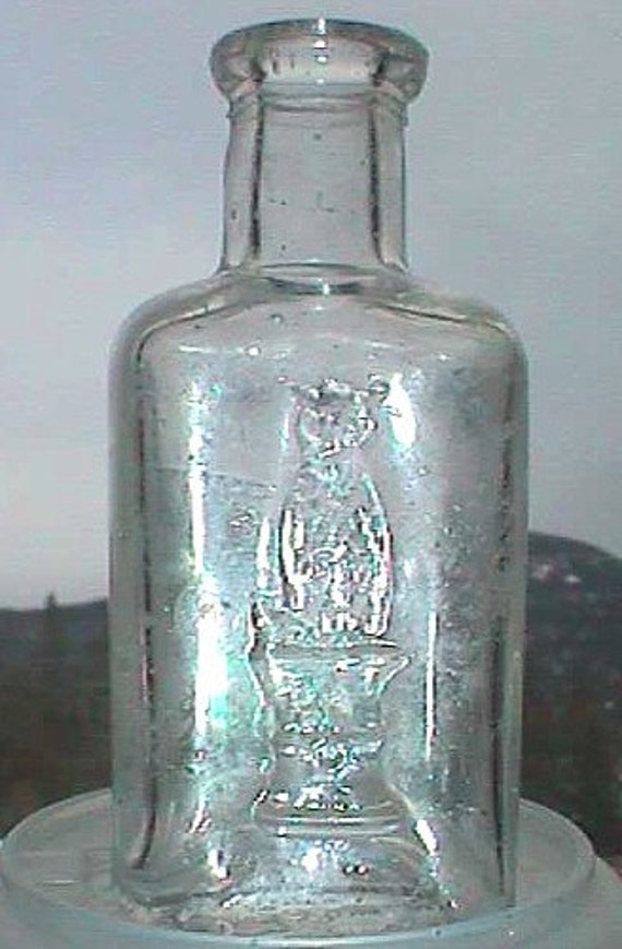 Tiniest Antique Old Owl Drug Co Bottle 1 2 Ounce W Pic Of