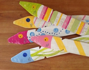 Set of Five Handpainted Fish painted on Reclaimed Wood Picket Fence