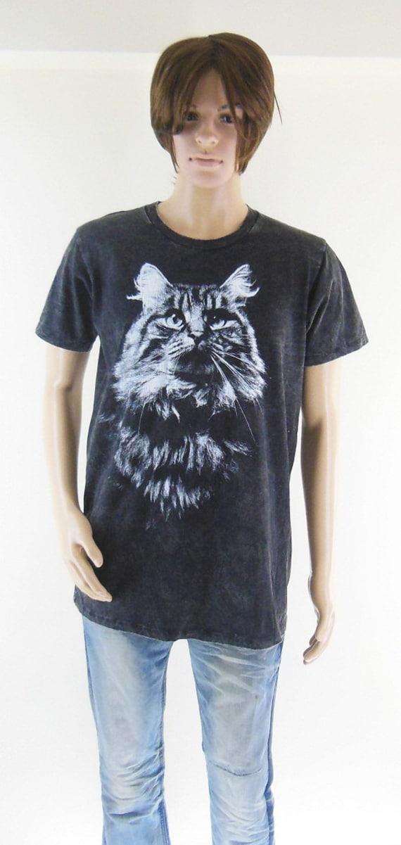 Cat animal design cat shirt bleach black t shirt men t shirt for How to bleach designs into shirts