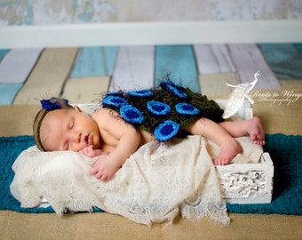 crochet photo prop peacock feathered cape with matching headband- size newborn