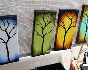 Seasons of Change - Tree Painting on Reclaimed Wood By Artist Rafi Perez