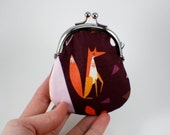 Flat Fox Coin Purse in Purple and Orange