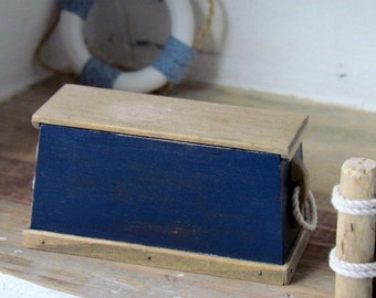 Dollhouse Trunk  Sailor's Chest Royal Blue Handcrafted 12th Scale