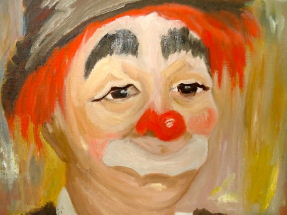 Oil PAINTING CLOWN ART Red Skelton On Canvas Sad Clown Mustache Clown Red Yellow Chocolate Brown Yellow Flower