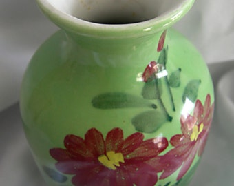 Green Hand Painted Vase - Red Floral Motif - JASCO TAIWAN - Vintage Circa 1970s