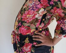 The Perfect Floral Maternity Hospital Robe,For Moms to be,For Nursing Moms, Pregnancy Robe, Baby Shower, Delivery Robe.