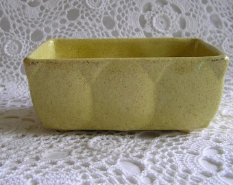Mustard Yellow Ceramic USA Planter, Mod Boho Hippie Garden, Kitchen, or Bath, 1960s