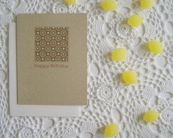 Earthy Bohemian Floral Birthday Cards, Set of 5, SALE, Blank Inside, Kraft Eco Friendly
