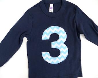 3 for 3rd Birthday Long Sleeve Birthday Shirt  in Navy with Aqua Biggie Chevron Number or Any Birthday