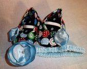 SNOWFLAKE Soft Soled Baby Shoes and headband set 0-3 mos