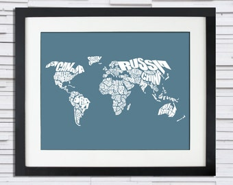 World Word Map - A typographic word map of the Countries of the World.  World Map Stencil, Print or Canvas, Travel Gift Idea