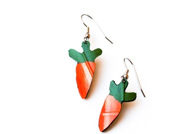 Recycled Bike inner tube earrings, Carrot Earrings