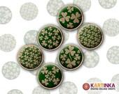 St Patrick Day SHAMROCKS 15mm & 12mm size Printable Digital Download for earrings, cuff links, bezel settings, pendants, rings, bottle caps