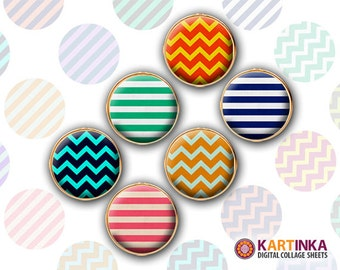 13m, 15mm Printable Download CHEVRONS & STRIPES Images for Earrings, Cuff links, Pendants, Crafts, Rings, Bottle Caps; Digital Collage Sheet