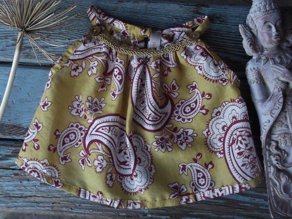Newborn baby girl dress top Mustard yellow folkloric Indian