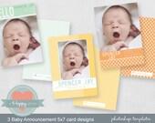 Baby Announcement Templates - Photographers, 5x7 card templates, WHCC, PSD files, baby boy annoucements