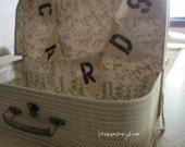 CARDS Mini Burlap Pennant Banner - wedding cards suitcase - photo prop - rustic wedding decor