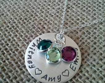 Hand Stamped Mom Necklace, Custom Family Necklace, Couples Necklace, Stamped Evermore