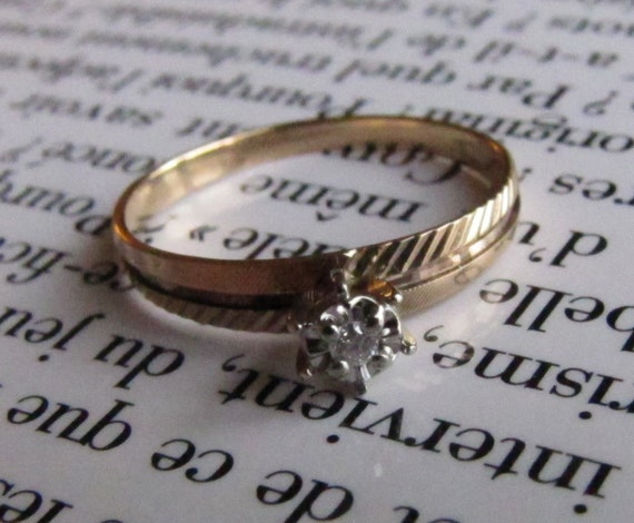 Antique Solitaire Diamond Engagement Ring Hipster Mid By Lagnole