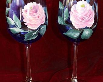 Hand Painted Wine Glasses (Set of 2 ) - Vintage Rose on Cobalt Blue glass