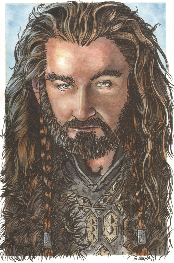 Thorin Oakenshield from the Hobbit Original Watercolor Painting...