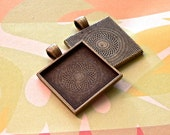 10 Blank Antique Brass Plated 1 inch Square 25mm Bezel Pendant Tray Settings