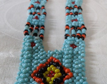 Vintage Native American Woven Bead Necklace