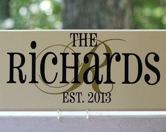 Personalized Name Wood Sign with Initial Established Date. Perfect Wedding Gift, Bridal Shower or Anniversary