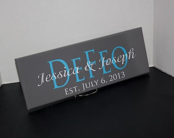 Wedding Gifts. Personalized Family Last Name Sign with Established Date. Bridal Shower or Anniversary