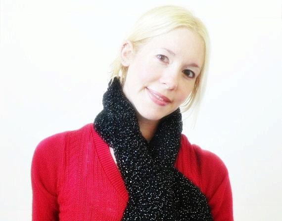 Clearance SALE Crochet Scarf with Keyhole - black sparkle