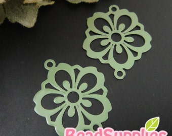 CH-ME-01851- Nickel Free, Sakura flower connector,military green, 4 pcs