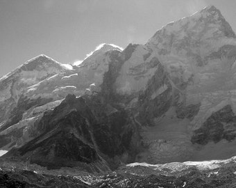 Himalaya Mountain Landscape Fine Art Photography , Spring , Home Decor , Black and White , Himalaya - Everest and Nuptse , 8 x 12