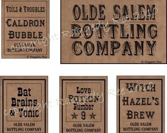 Halloween labels, wine labels, bottle labels, digital file