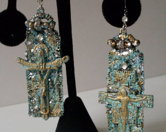 Beautiful Vintage Cross Textile Art Earrings One of a Kind  TheBeaconHillCollectibles Jewelry