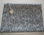 Leopard Print Grey Denim Zipper Pouch Handmade In France