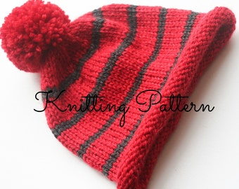 Aran Pom Pom Baby Hat Knitting Pattern - Easy to Knit - Instant Download
