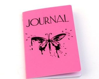 Butterfly Journal, Pink mini notebook, diary, altered journal, gift idea, pocket journal, dreams