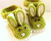 Sweet Easter Bunny -MADE TO ORDER - Baby Rabbit Knitted Booties,Baby Shoes, Baby Warm Gift