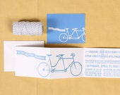 Tandem Bicycle and Banner Wedding Invitation Set