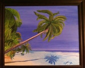 Palm Trees Over the Water in St. Thomas Original Painting - Last 2 days at this SALE price