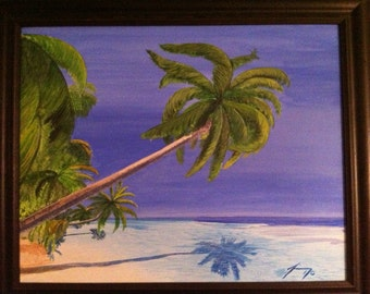 Palm Trees Over the Water in St. Thomas Original Painting - Last day at this SALE price