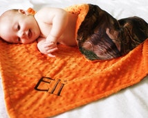 Baby Boy Blanket, Real Tree Camo and Orange Minky, Personalized Minky Blanket
