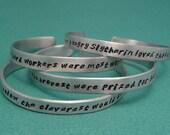 Choose ONE - Hogwarts Sorting Hat - Gryffindor, Slytherin, Hufflepuff, Ravenclaw - A Hand Stamped Bracelet