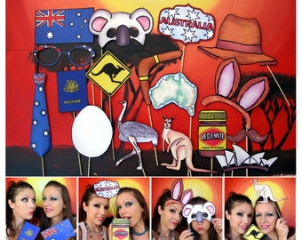Australia phot booth props - perfect for the party down under, your Australian celebration or an Aussie outback party