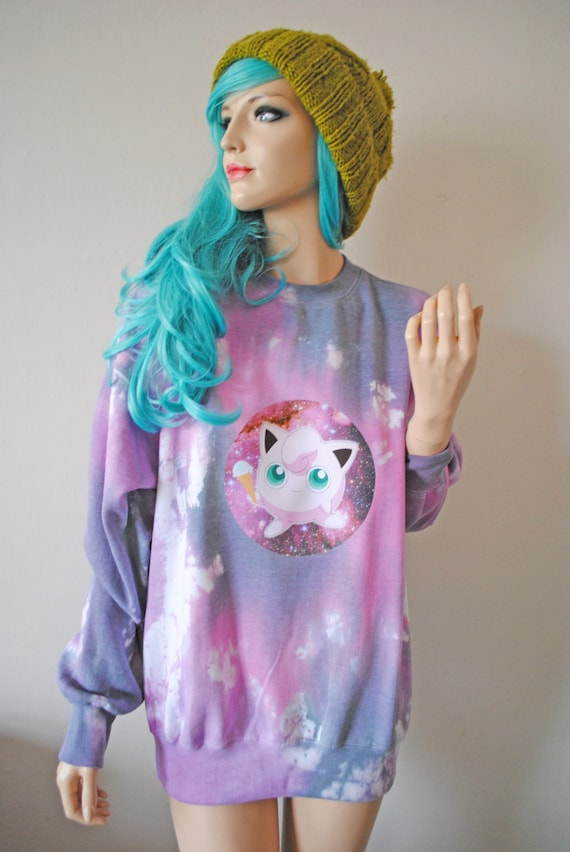 Jigglypuff Pokemon Kawaii Pink Tie Dye Jumper hipster tumblr cute gift