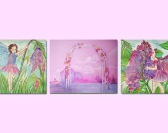Fairy Nursery, Fairyland Decor, SET OF 3 Art Prints, Nursery Decor, Pink Purple Violet, Baby Girl Nursery, Kids Wall Art, Prints for Girls